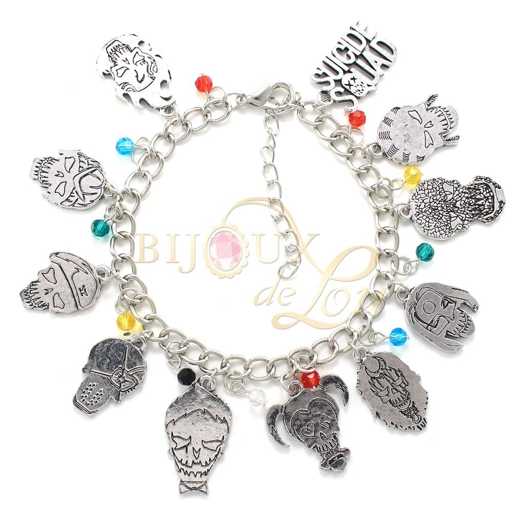 set tone black silver index girl bracelets charm squad stud heart bracelet