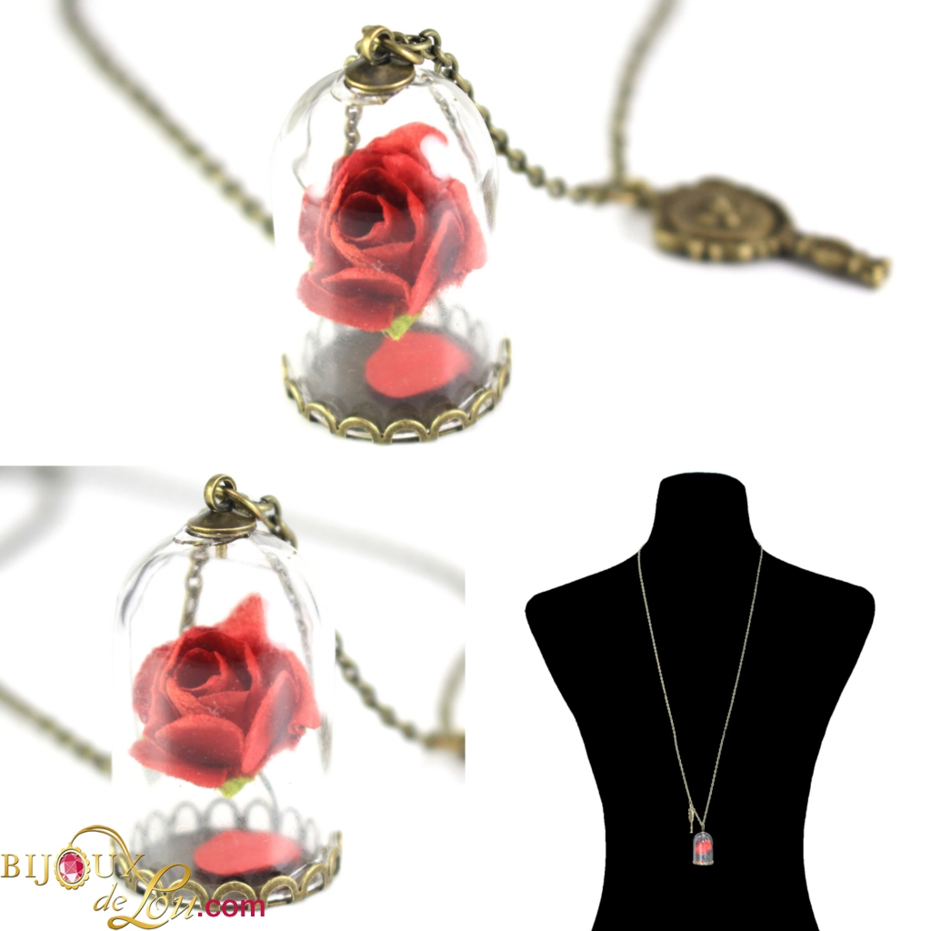 women rose souvenir item necklaces beauty from necklace colors movie gold and for jewelry the pendant flower in beast