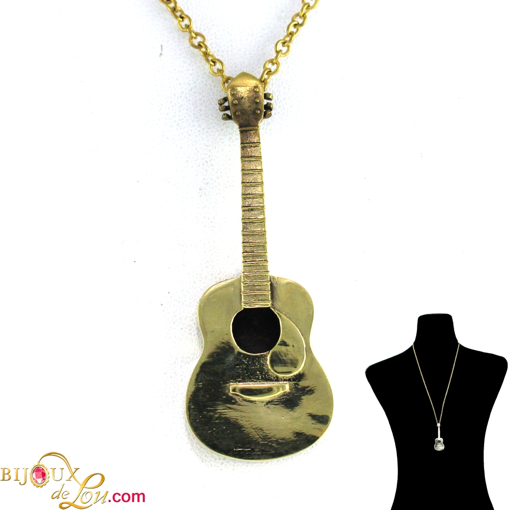 guitar yellow index wheel spinning diamond polished gold necklace