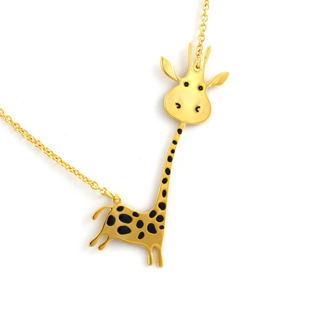 silver sterling hugging and necklace pendant giraffe