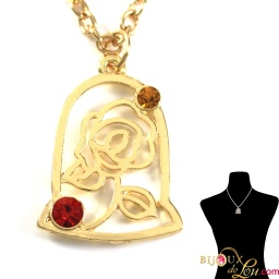 beauty_beast_gold_plated_2d_domed_rose_necklace