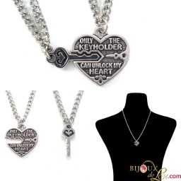 pewter_heart_key_paired_necklace_set