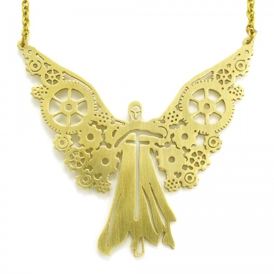 retro clockwork x city bones stylish s pendant tessas bronze angel tessa necklace itm