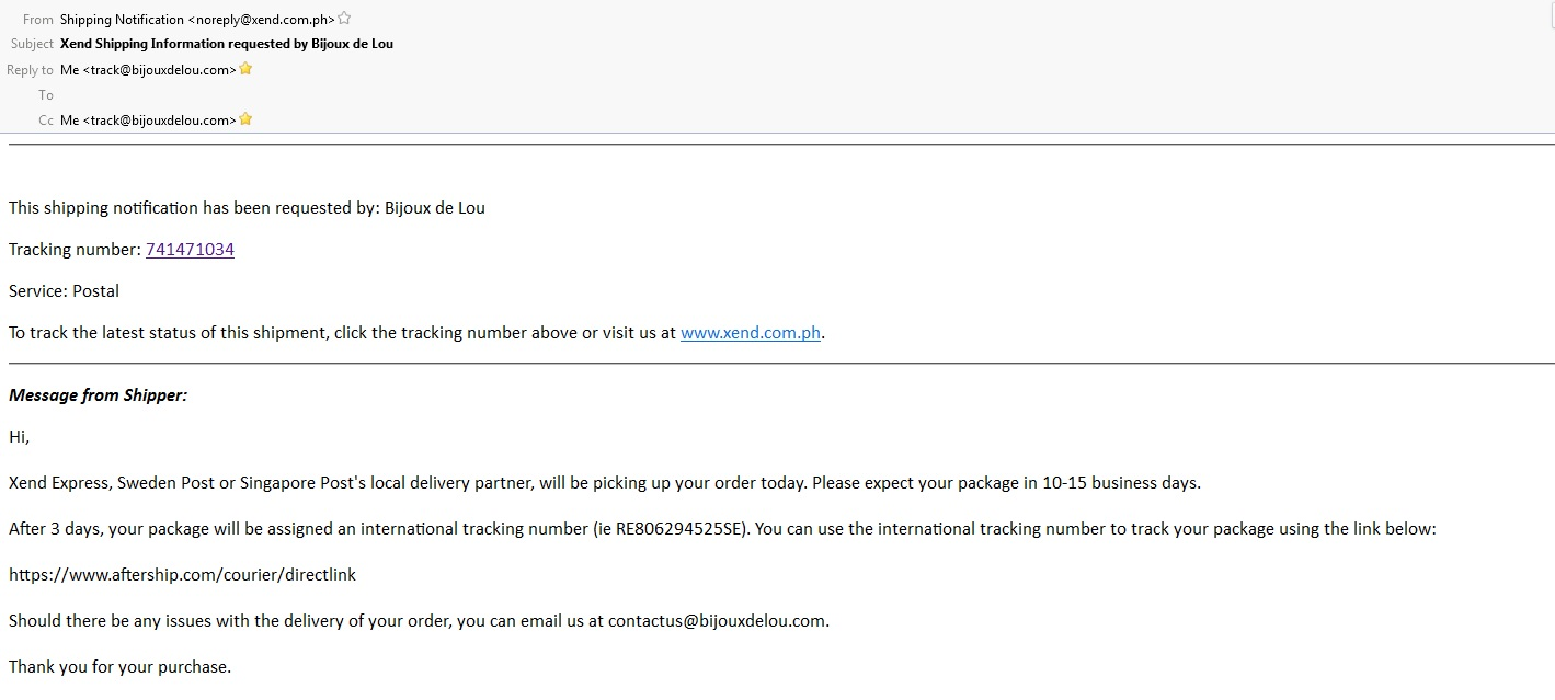 This is the notification email sent once your package is shipped. The email contains your tracking number and package status link.