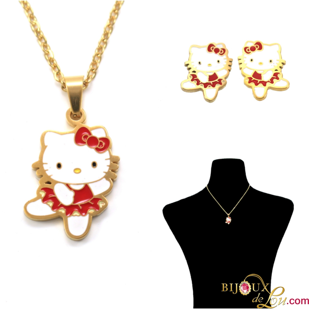 265ae4ee7 Gold-Plated Stainless Steel Ballerina Hello Kitty Necklace and Earrings Set