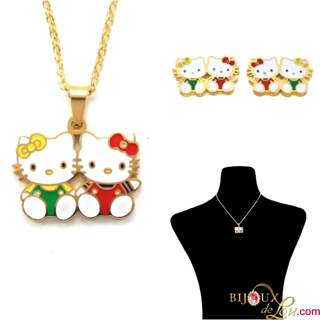 682877b15 Gold-Plated Stainless Steel Hello Kitty and Mimi Necklace and Earrings Set