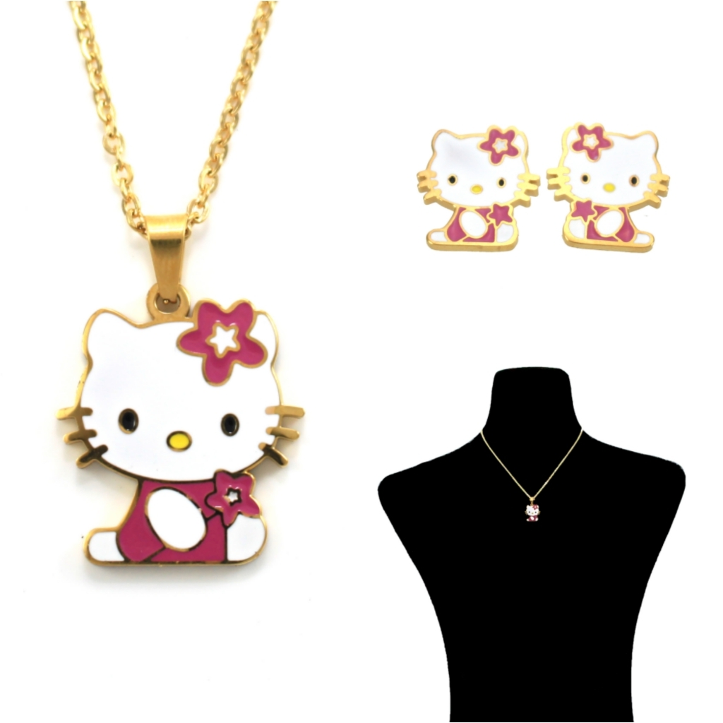 f14b7a724 Gold-Plated Stainless Steel Fairy Hello Kitty Necklace and Earrings Set