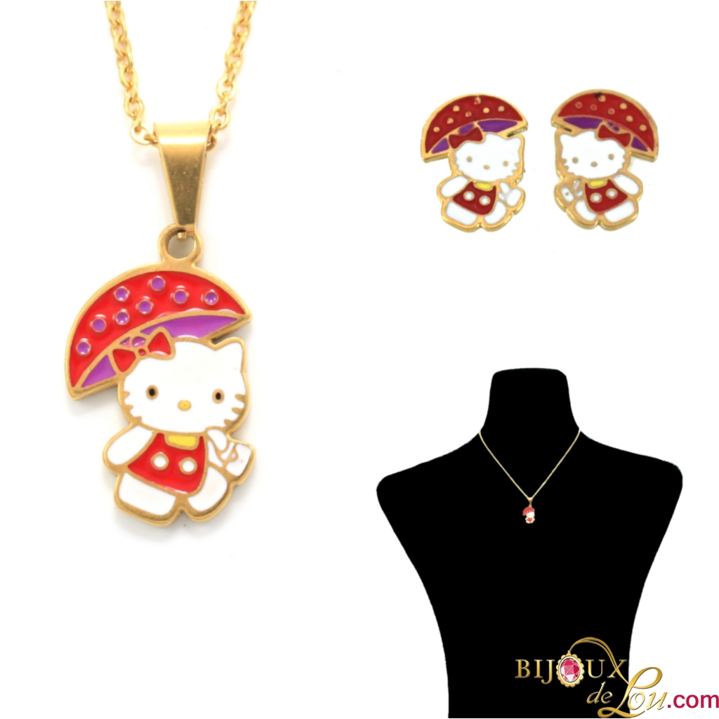 3a4fd765c Gold-Plated Stainless Steel Hello Kitty with an Umbrella Necklace and Earrings  Set